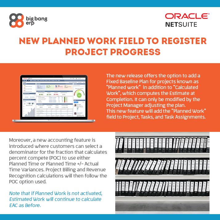 NetSuite: New Planned Work Field To Register Project Progress