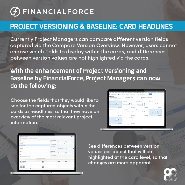 FinancialForce Fall 2018 Release Infographic: Project Versioning & Baseline: Card Headlines
