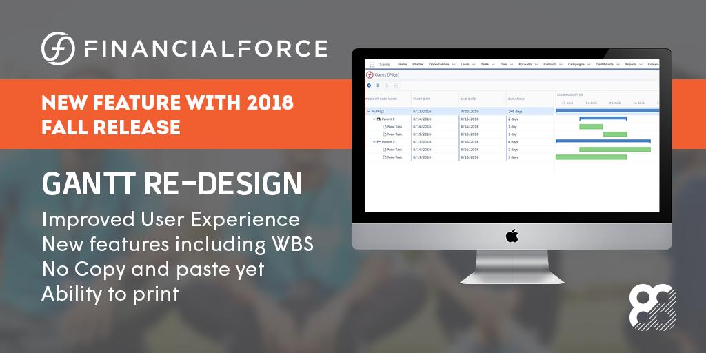 FinancialForce Fall 2018 Release Infographic: GANTT Re-design