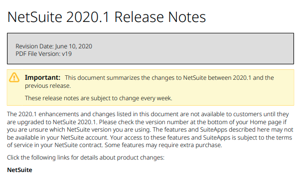 NetSuite Release Notes 2020.1