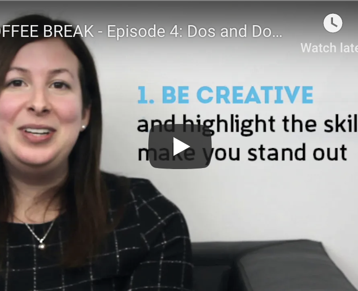 Coffee Break – Episode 4: Dos and Donts for writing a GREAT CV in IT