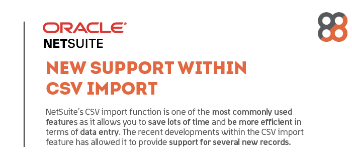 NetSuite: New Support within CSV Import Cheat Sheet