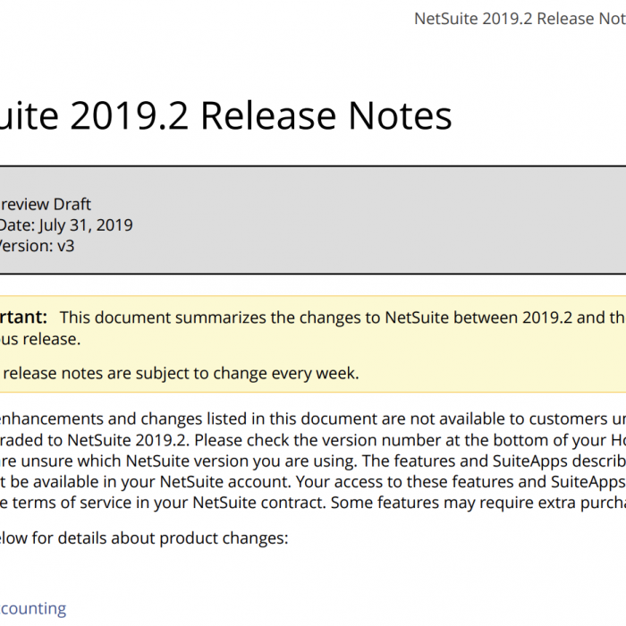 NetSuite Release Notes 2019.2