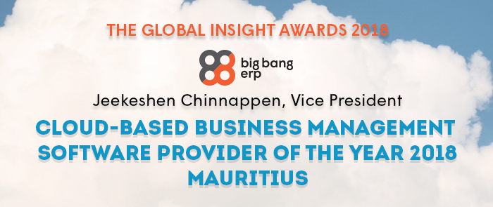 Big Bang ERP selected as Cloud-Based Management Software Provider of the year 2018 in Mauritius
