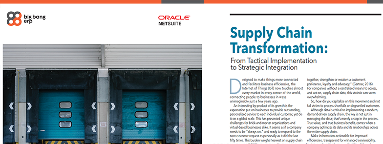NetSuite: Supply Chain Transformation