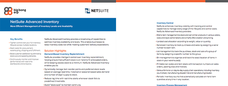 NetSuite Advanced Inventory