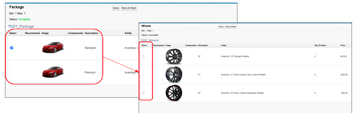 Example product configuration using Tesla Model S - standard package, wheels