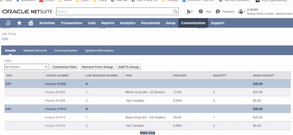 Dashboard Screenshot of Invoice Grouping in NetSuite 2020.2