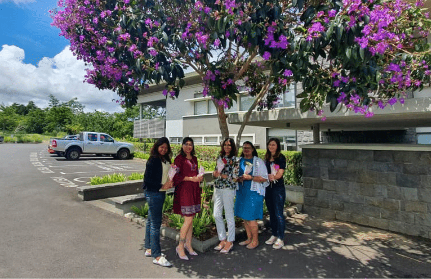 Some of the women at Big Bang in Mauritius celebrating International Women's Day 2021.